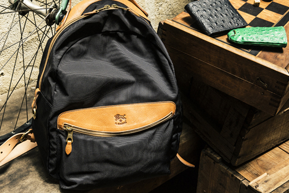 Nylon & Ostrich Embossed Leather
